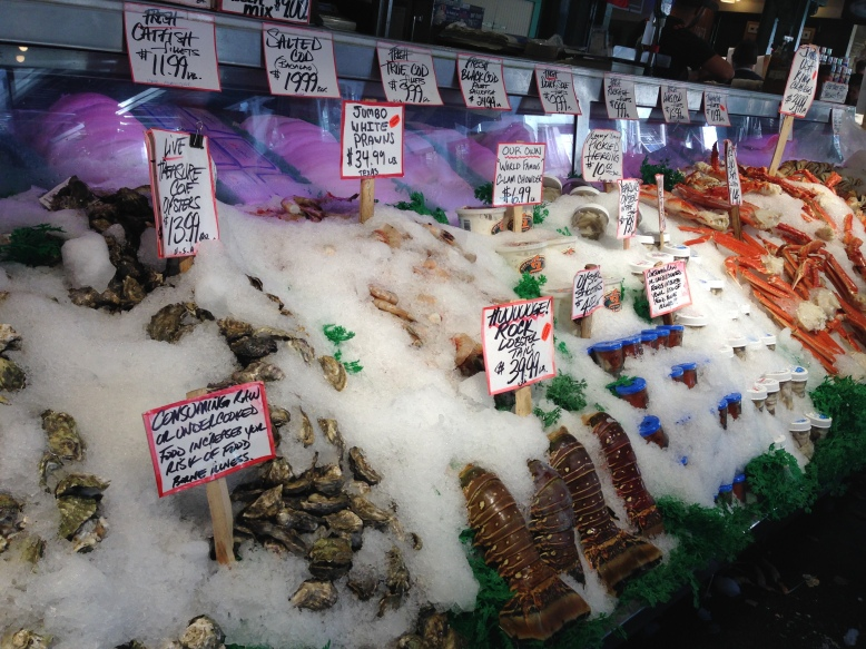 Some of the fish offered at Pike's Place Market in downtown Seattle.
