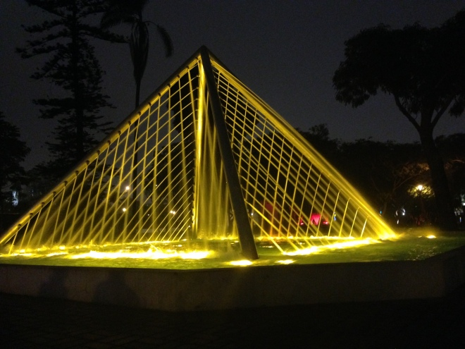 Fun pyramid fountain at Parque de la Reserva
