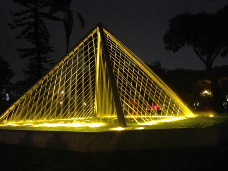 Fun pyramid fountain at Parque de la Reserva