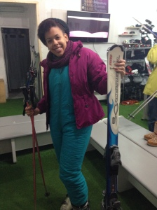 Modeling my new ski outfit